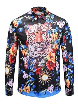 ericdress animal print floral mens slim button up camisas