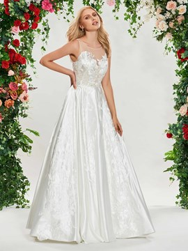 Ericdress A Line Appliques Matte Satin Wedding Dress