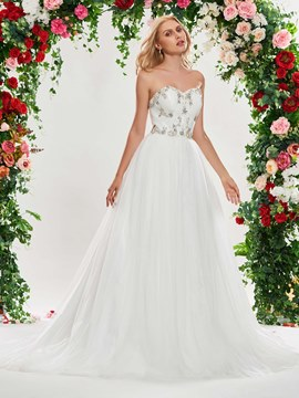 Ericdress Sweetheart Appliques Beading Wedding Dress