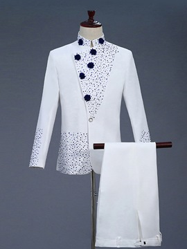 Ericdress Appliques White Mens Costume Party Suits