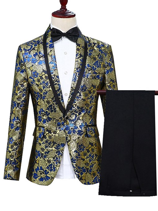 Ericdress Shawl Collar Floral Blazer & Pants Mens Ball Party Suits