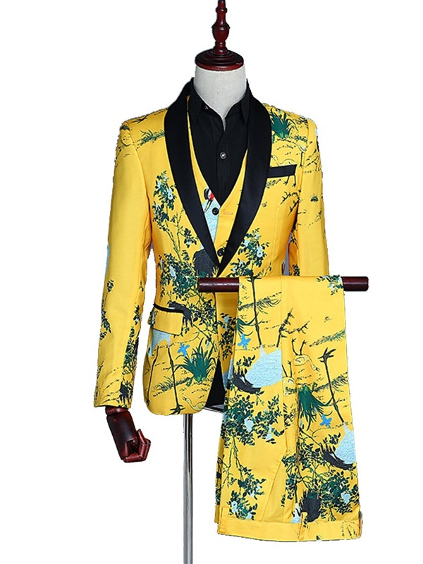 9daec450629b8 Chinese Style Printed Mens Costume Party Suits ...