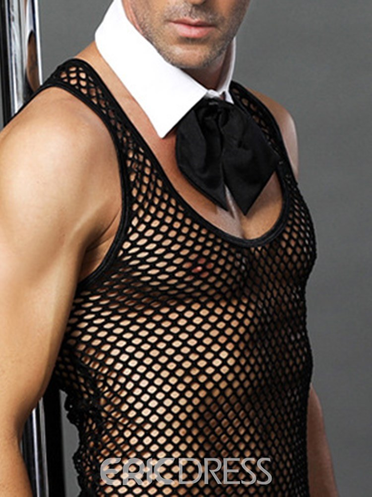 Ericdress Men's Sexy Lingerie Fishnet Bowknot Waiter Costume