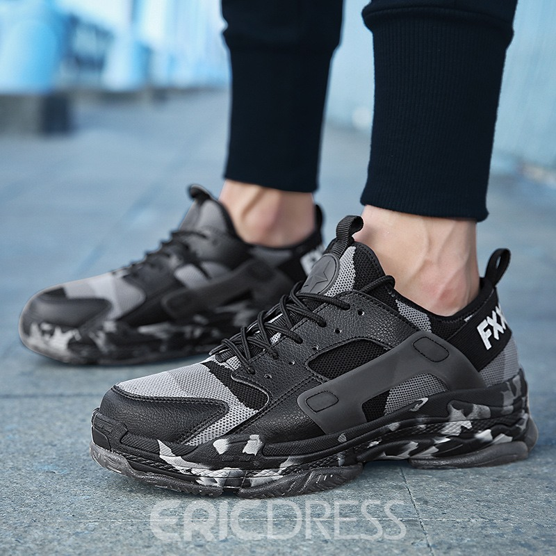 Ericdress Mesh Patchwork Camouflage Lace-Up Men's Trainers