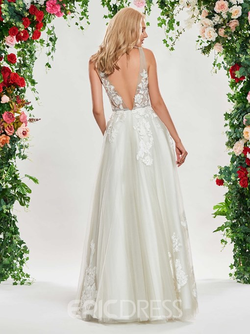 Ericdress A Line V Neck Backless Beach Wedding Dress