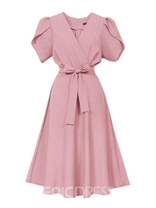 Ericdress Mid-Calf Bowknot Short Sleeve Date Nigh Sleeve Dress