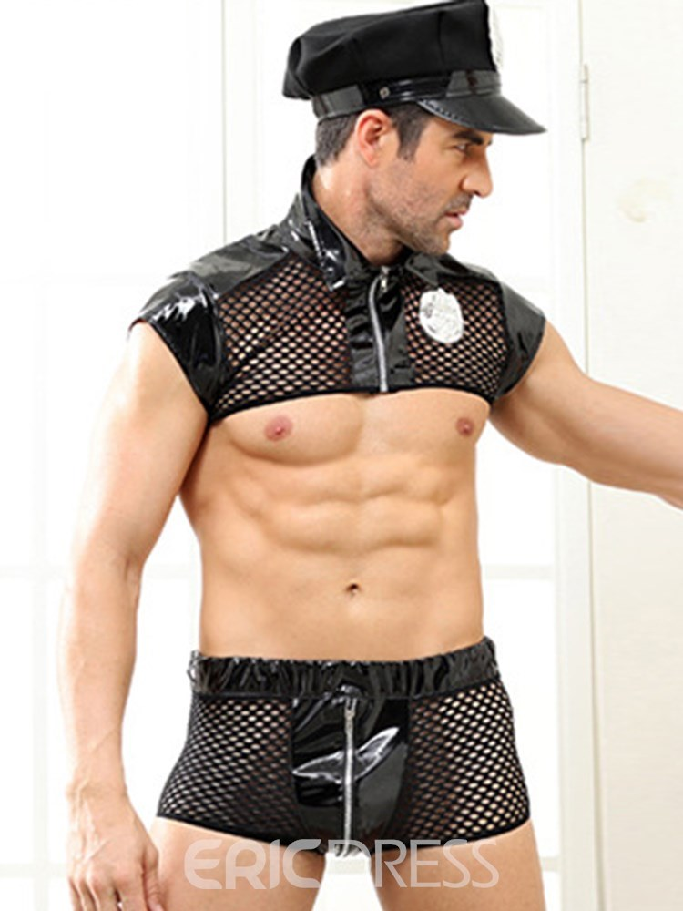 Ericdress Men's Sexy Lingerie Zipper Fishnet Military Costume