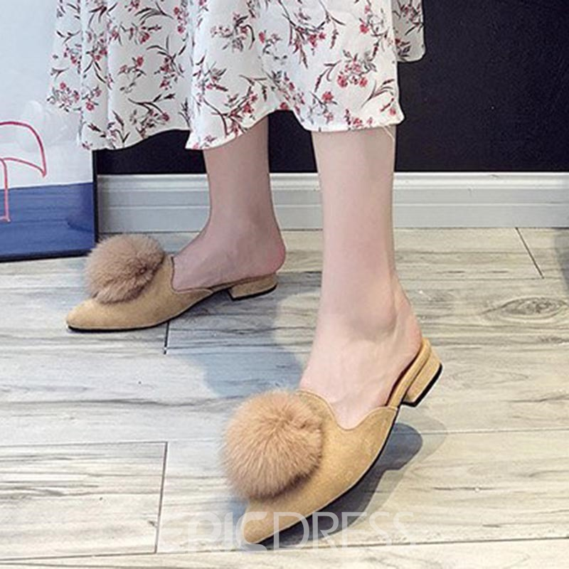 Ericdress Pompon Slip-On Pointed Toe Flat Mules