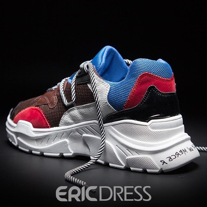 Ericdress Mesh Color Block Lace-Up Low-Cut Men's Trainers
