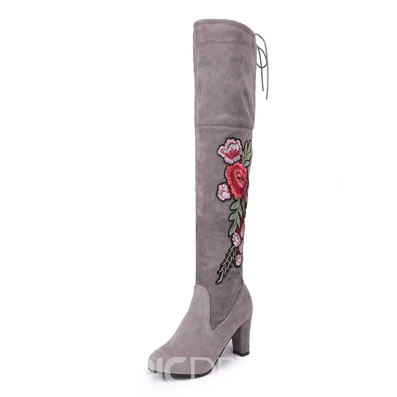 Ericdress Lace-Up Knee High Women's Embroidered Boots