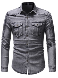 Ericdress Plain Lapel Pleated Mens Denim Shirts With Pocket фото
