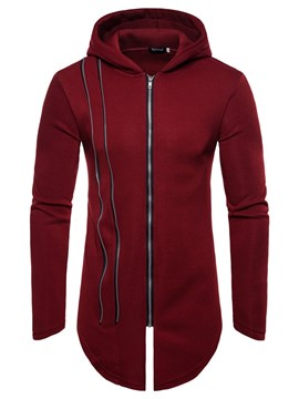 Ericdress Plain Zipper Designed Hooded Mens Casual Cardigan Hoodies