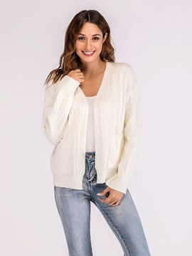 Ericdress V-Neck Cable Casual Long Sleeves Cardigan