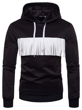 Ericdress Tassel Patchwork Slim Hooded Pullover Mens Casual Hoodies