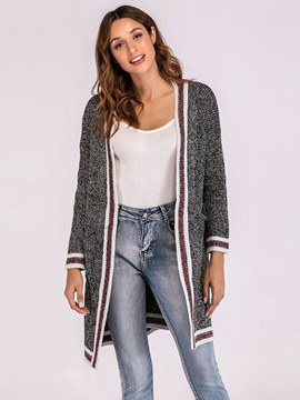 Ericdress Stripe Loose Mid-Length Casual Cocoon Cardigan