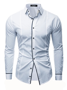 Ericdress Color Block Plain Button Down Mens Casual Dress Shirts