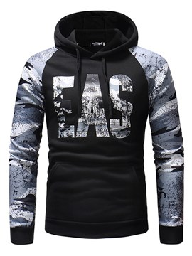 Ericdress Letter Camouflage Printed Lace Up Mens Casual Hoodies