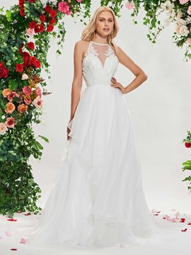 Ericdress A Line Backless Open Shoulder Wedding Dress