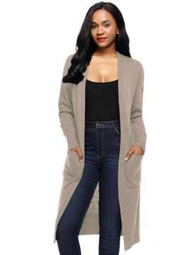 Ericdress Plain Casual Slim Long Cardigan