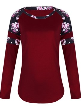 Ericdress Print Scoop Mid-Length Floral Long Sleeve T-shirt