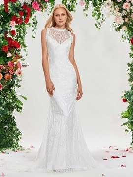 Ericdress Backless Mermaid Lace Garden Wedding Dress