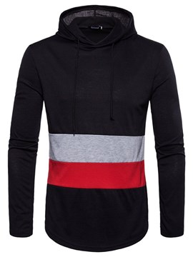 Ericdress Patchwork Pullover Color Block Mens Casual Hoodies