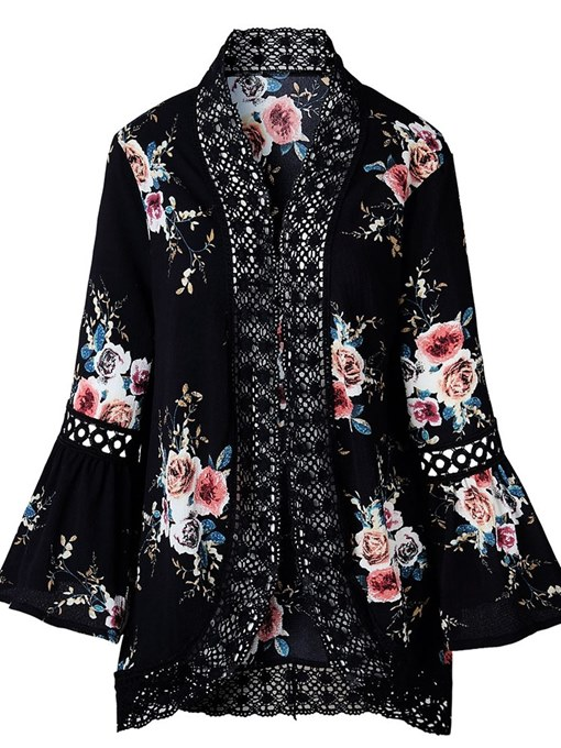 Ericdress Thin Floral Lace Long Sleeve Cape