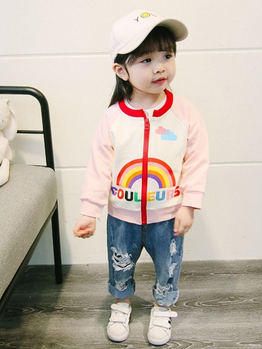 Ericdress Printed Raglan Sleeve Patchwork Zipper Baby Girl's Jacket