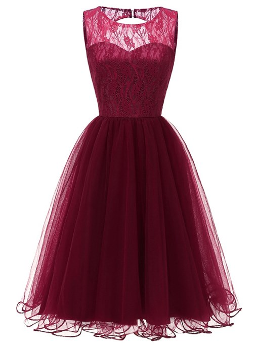 Ericdress Sleeveless Lace A-Line Women's Party Dress