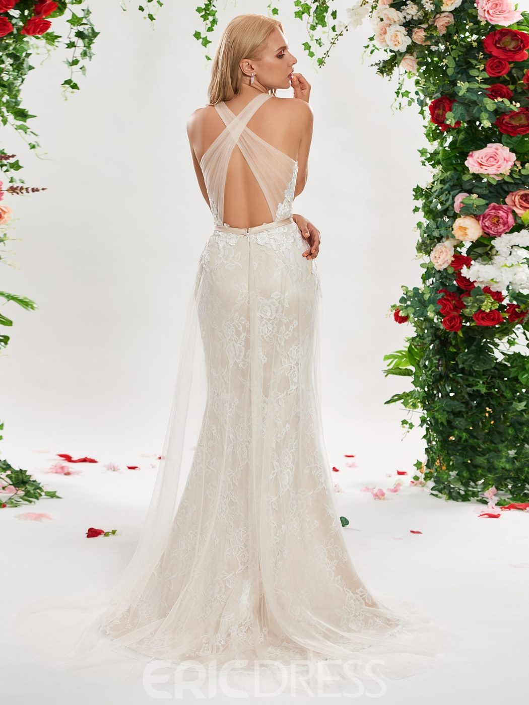 Mermaid Lace Backless Wedding Dress