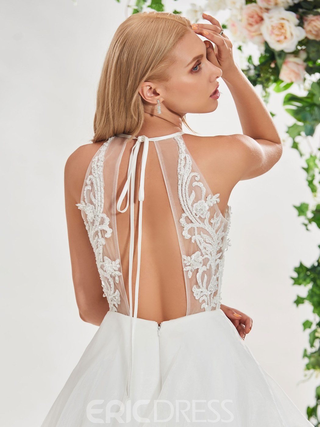 Ericdress Backless Beading Appliques Wedding Dress
