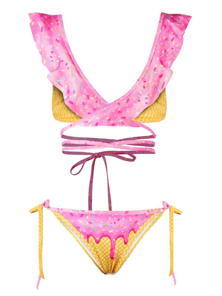 Ericdress Bowknot Wave Cut Tankini Set Western Swimwear
