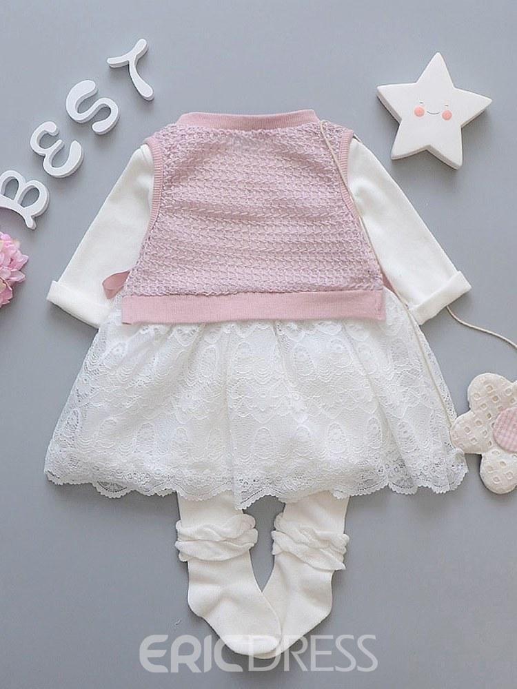 Ericdress Pleated Hollow Patchwork Lace Vest & Dress Baby Girl's Outfits