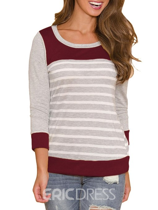 Ericdress Scoop Stripe Casual Long Sleeve T-shirt