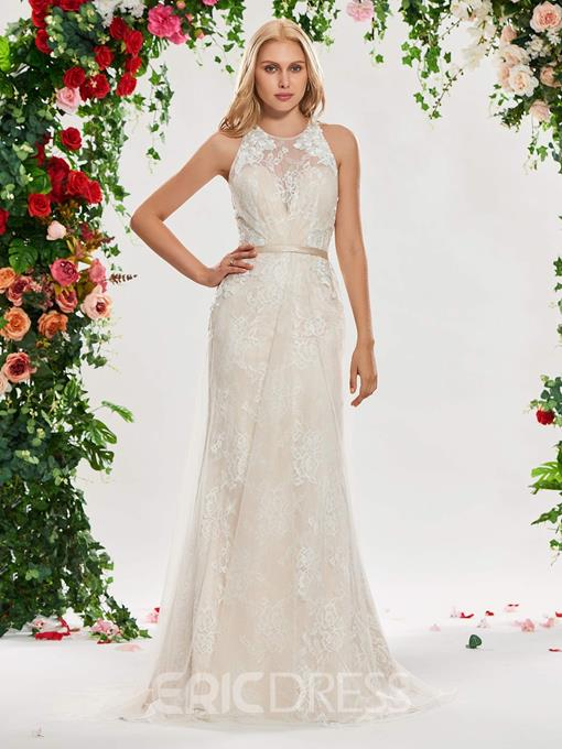 Ericdress Criss-Cross Straps Mermaid Lace Wedding Dress