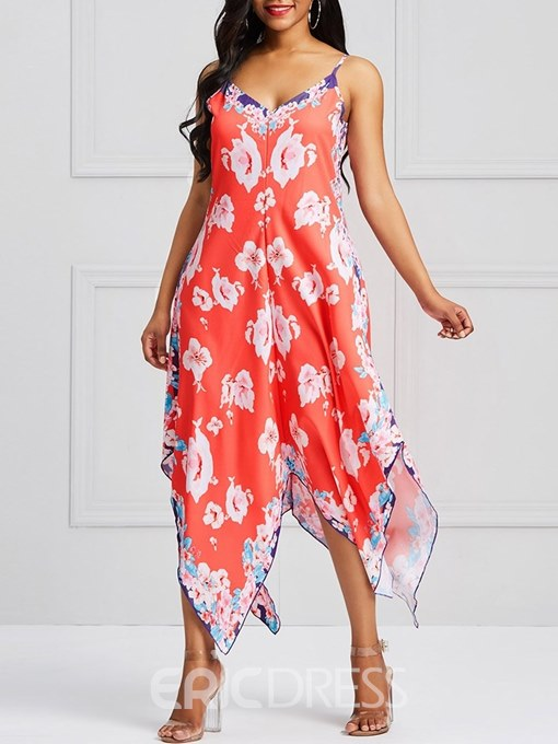 Ericdress Asymmetrical Print Spaghetti Strap Women's Dress