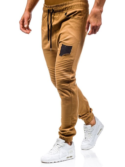 Ericdress Patchwork Lace Up Micro-Elastic Mens Casual Pants