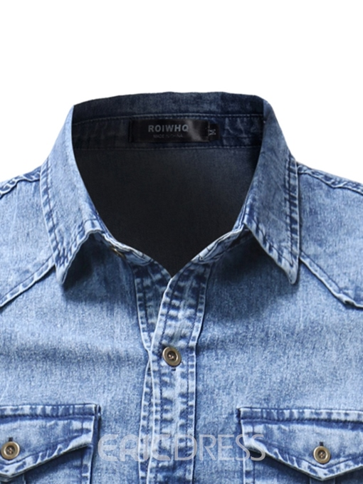 Ericdress Plain Lapel Pleated Mens Denim Shirts With Pocket