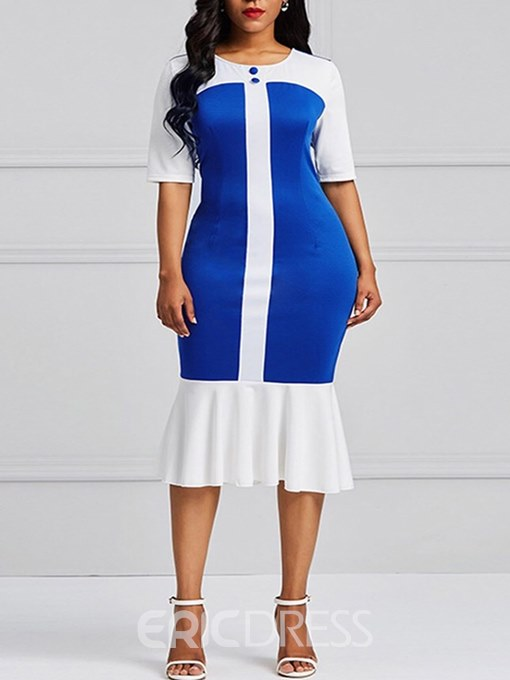 Ericdress Mermaid Mid-Calf Color Block Women's Dress
