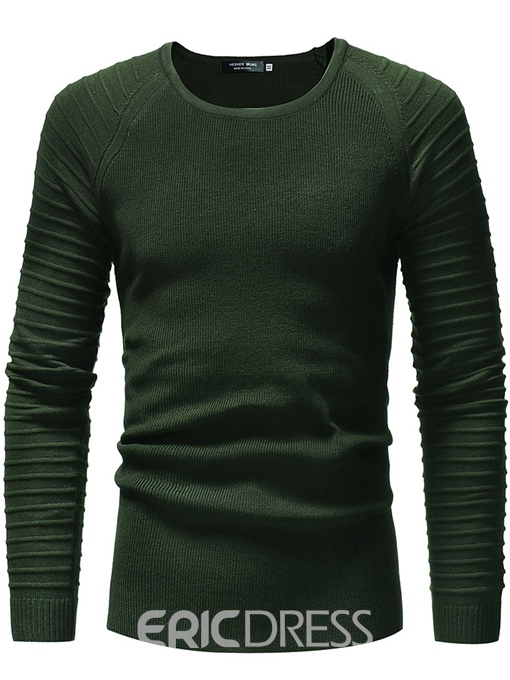 Ericdress Plain Long Sleeve Pleated Scoop Mens Casual Sweaters
