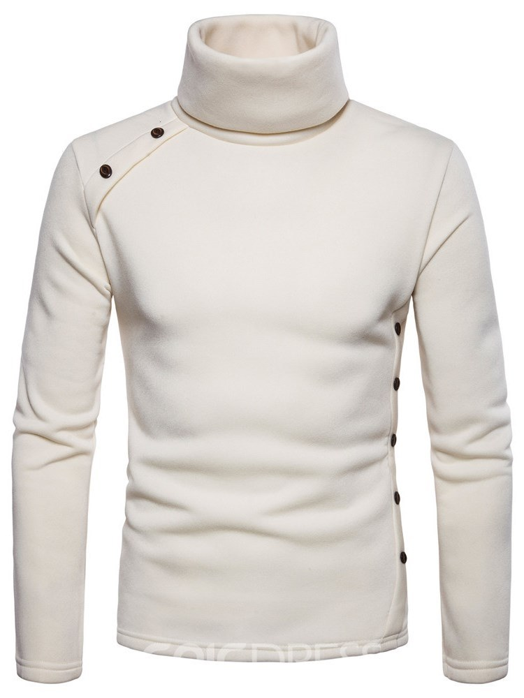 Ericdress High Neck Pullover Plain Slim Button Mens Hoodies