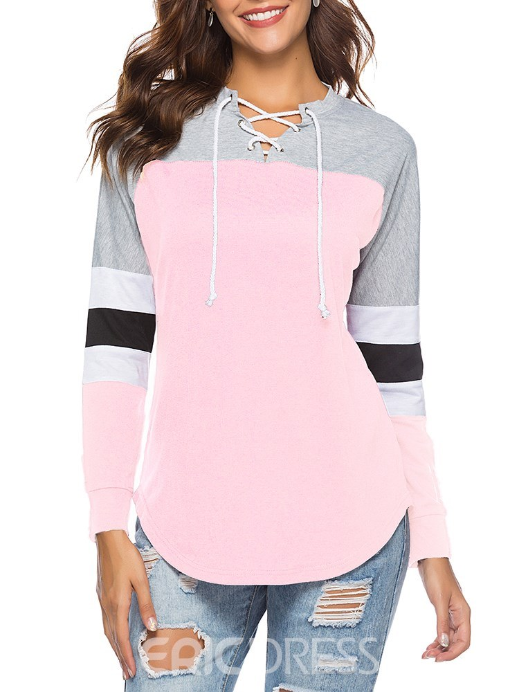 Ericdress Tie Front Loose Color Block Long Sleeve T-shirt