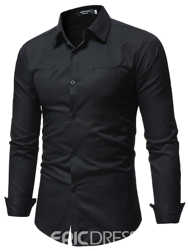 Ericdress Plain Button Up Mens Casual Dress Shirts