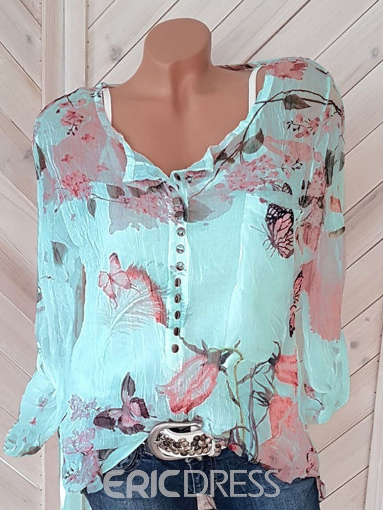 Ericdress Print Floral Loose Long Sleeve Blouse