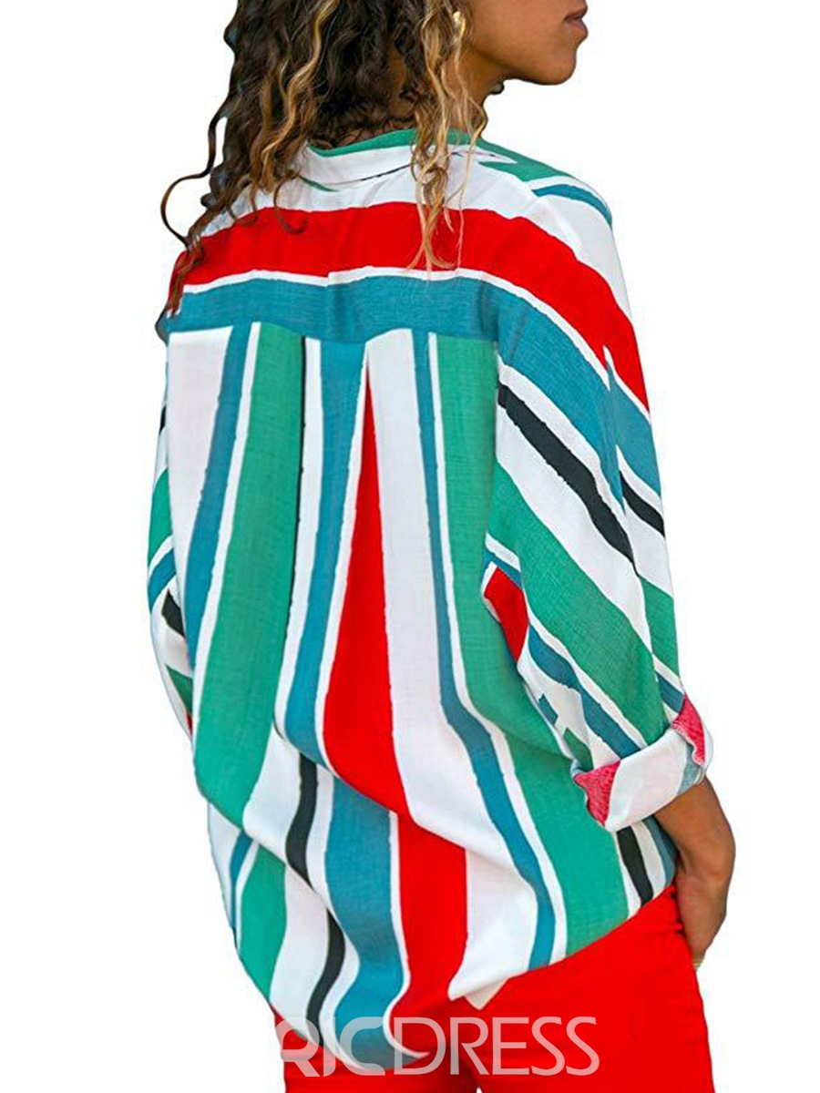 Ericdress Loose Button Print Stripe Color Block Long Sleeve Blouse