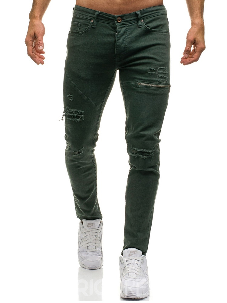 Ericdress Plain Inelastic Worn Mens Casual Ripped Jeans