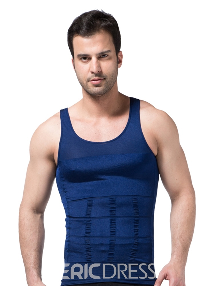 Ericdress Solid Breathable Body Shaping Sports Vest Top for Men