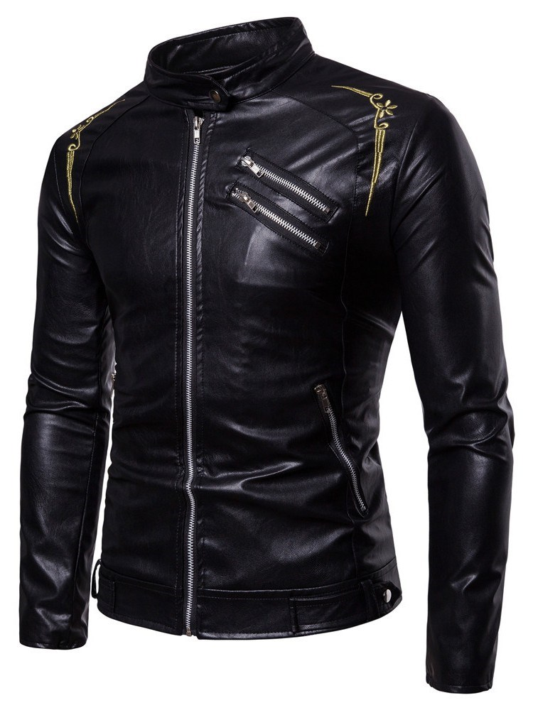 Ericdress Printed Slim Cool Stand Collar Mens PU Leather Jacket