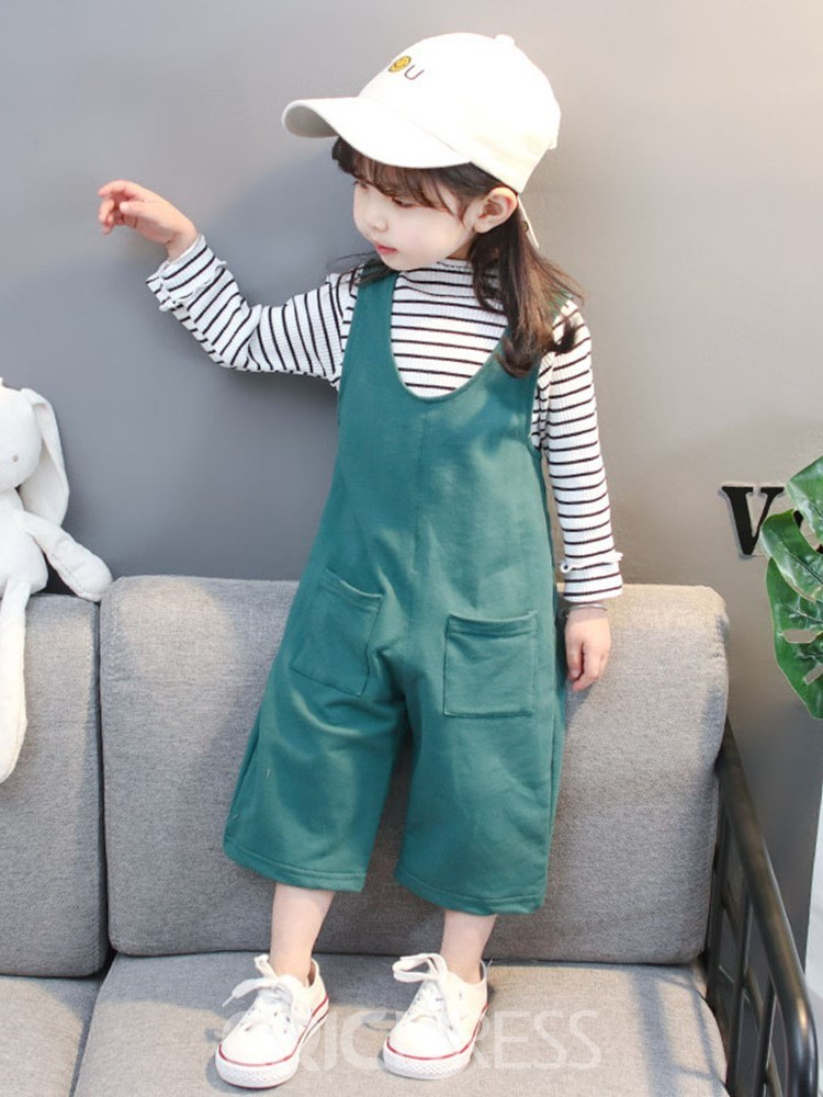 Ericdress Tripped T Shirts & Plain Jumpsuits Bbay Girl's Outfits