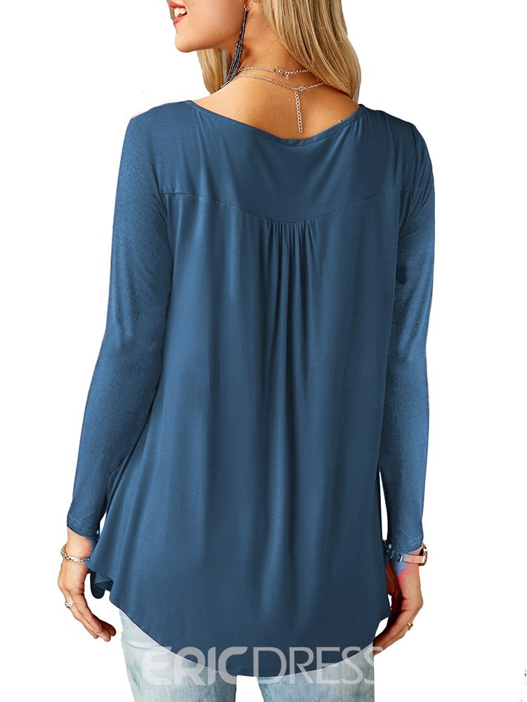 Ericdress Loose Plain Mid-Length Long Sleeve T-shirt